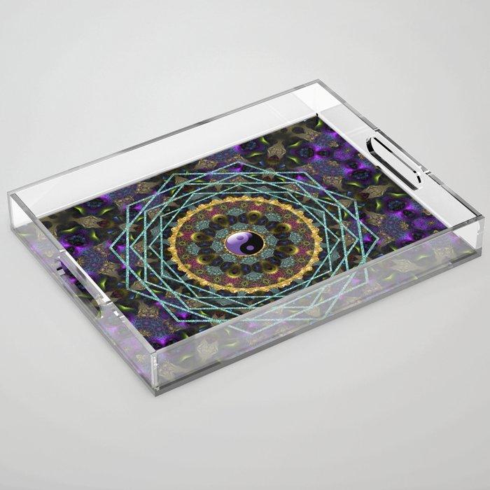 Purple Yin Yang Sacred Geometry Fractals Acrylic Tray