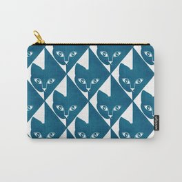 Hiding Cat Pattern in Blue Carry-All Pouch
