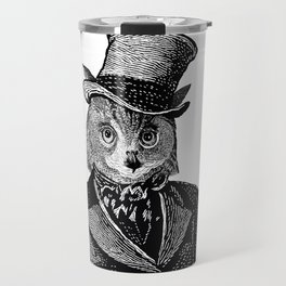 Owl Portrait | 1 of 2 | The Owl and the Pussycat Set | Anthropomorphic Owl | Black and White | Travel Mug