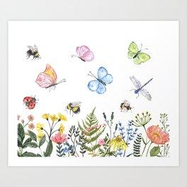 Wildflower meadow Illustration Watercolor Art print Wild flowers Field nature Bee Butterfly Floral Flower Colorful Nursery Artwork Art Print