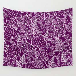 Plum Maple Leaves Wall Tapestry
