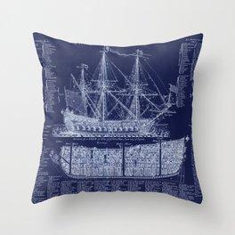 British Warship blueprint Throw Pillow