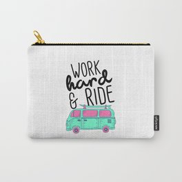 Vintage Quote Combi Travel Camping Van Distressed Bus  Carry-All Pouch