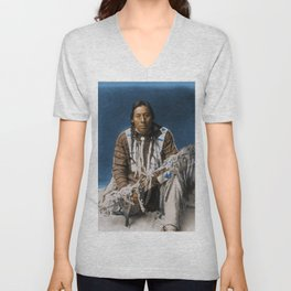 A medicine pipe - Blackfoot - American Indian Unisex V-Neck