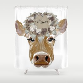 Cow with Love Hat Shower Curtain