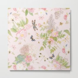 Vintage Summer Blush Botanical Flower Roses Garden Metal Print