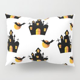 Haunted House and Full Moon Bats Pillow Sham