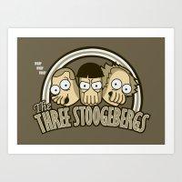 zoidberg Art Prints featuring The Three Stoogebergs by Hoborobo