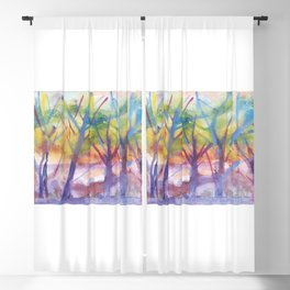 Spring landscape watercolor Blackout Curtain