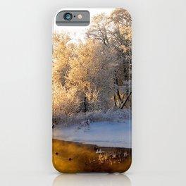 river wood winter hoarfrost gray hair light reflection orange iPhone Case