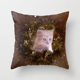 Christmas kitten watching the snow Throw Pillow