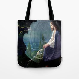 Jesus Christ On Mount Olive With White Rose By Annie Zeno Tote Bag