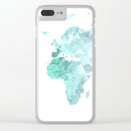 World Map Watercolor #2 Clear iPhone Case