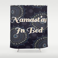 namaste Shower Curtains featuring Namaste by Katie Duker