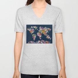 world map floral Unisex V-Neck