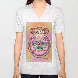 Young Girl Offering Flowers Unisex V-Neck