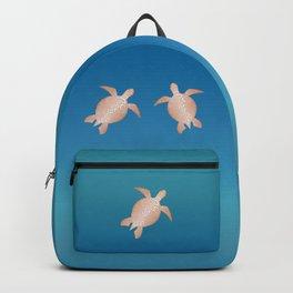 Rose Gold Turquoise Turtle Mandala Backpack