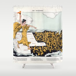The Awakening By Hy Mayer 1915 Women's Suffrage Shower Curtain