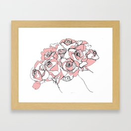 Continuous Line of Roses Framed Art Print