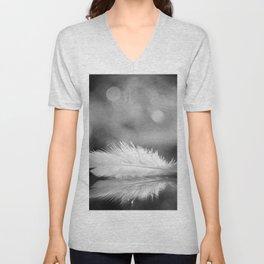 White Feather In Black And White Bokeh Background #decor #society6 #buyart Unisex V-Neck