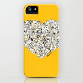Camera Heart - on yellow iPhone Case