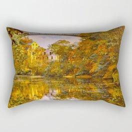 Fall at Upper Falls, Massachusetts.  Echo Bridge Rectangular Pillow