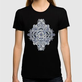 Floral Diamond Doodle in Dark Blue and Cream T-shirt