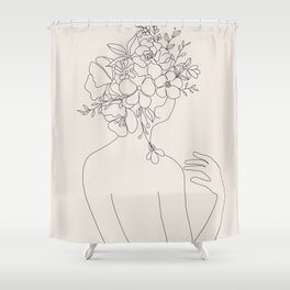 Woman with Flowers Minimal Line II Shower Curtain