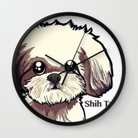 shih tzu Wall Clocks featuring Alice (Shih Tzu) by BinaryGod.com