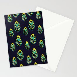 Peacock Feather Pattern on Black Stationery Cards