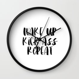 Quote poster download - wake up and kick ass - motivational quote download Wall Clock