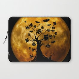 Surreal halloween tree with pumpkins, bats and owls Laptop Sleeve