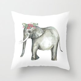 Ellie the Elephant and her flower crown Throw Pillow