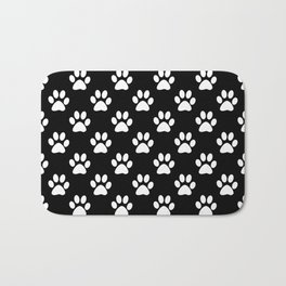 White paws pattern on black Bath Mat