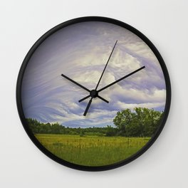 Storm rolling over small farm Wall Clock