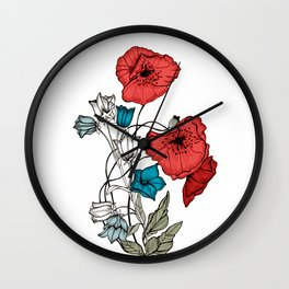 Poppies and Bells Wall Clock