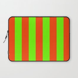 Bright Neon Green and Orange Vertical Cabana Tent Stripes Laptop Sleeve