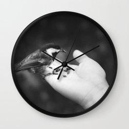 Bird Hand (Black and White) Wall Clock