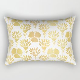 Luxury Gold Foil Flower Damask, Seamless Vector Pattern, Hand Drawn Metallic Rectangular Pillow
