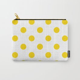 Polka Dots - Gold Yellow on White Carry-All Pouch
