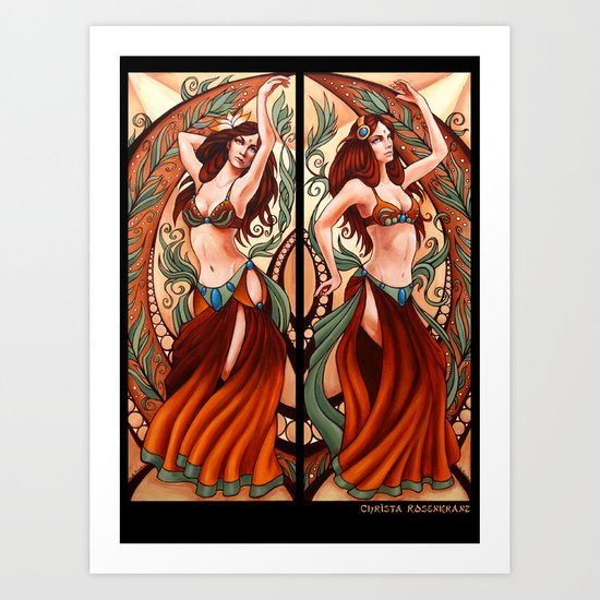 Bellydance Poster- Orange Art Print