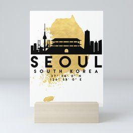 SEOUL SOUTH KOREA SILHOUETTE SKYLINE MAP ART Mini Art Print