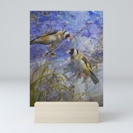 Goldfinches collecting nesting materials Mini Art Print