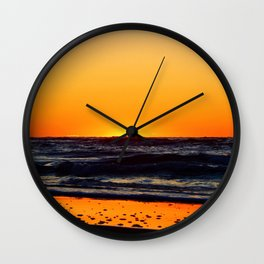 Orange Sunset on the Beach Wall Clock
