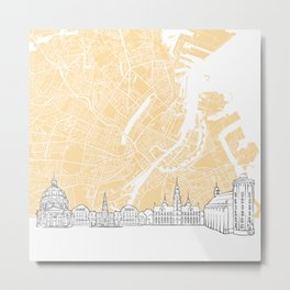 Copenhagen Denmark Skyline Map Metal Print