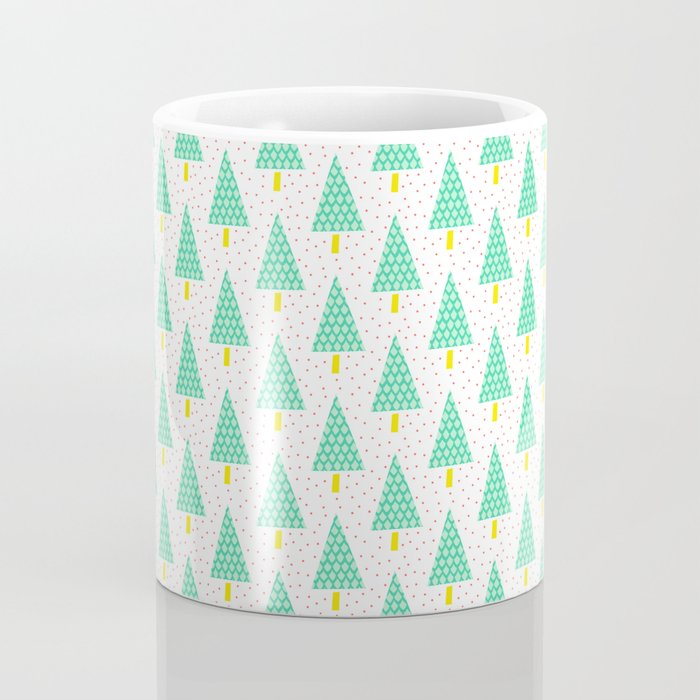 Teal and Tellow Winter Pine Trees Coffee Mug