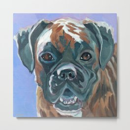 Boone the Boxer Dog Portrait Metal Print