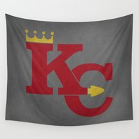 sports Wall Tapestries featuring Kansas City Sports Red by Haley Jo Phoenix