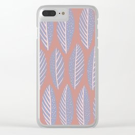 Gray and Pink Leaves Pattern Clear iPhone Case