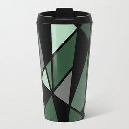 Geometric Pattern in Greens and Black Travel Mug